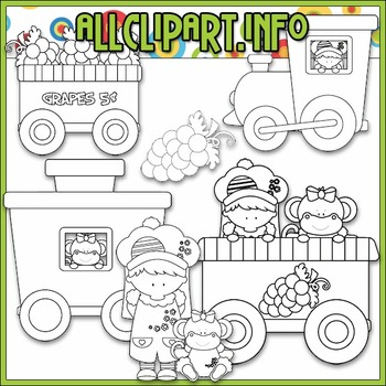 BUNDLED SET - Berry Sweet Choo Choo (Grape) Clip Art & Digital Stamp Bundle