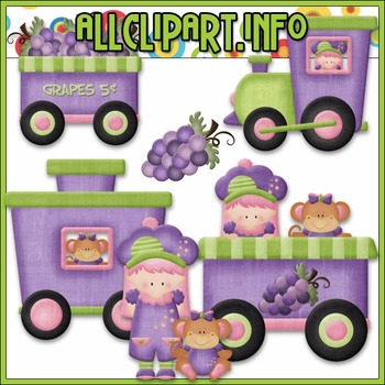 BUNDLED SET - Berry Sweet Choo Choo (Grape) Clip Art & Dig