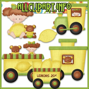 BUNDLED SET - Berry Sweet Choo Choo (Lemon) Clip Art & Digital Stamp Bundle