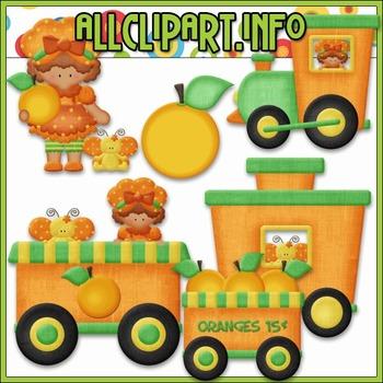 BUNDLED SET - Berry Sweet Choo Choo (Orange) Clip Art & Digital Stamp Bundle