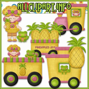 BUNDLED SET - Berry Sweet Choo Choo (Pineapple) Clip Art &