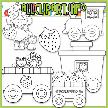 BUNDLED SET - Berry Sweet Choo Choo (Strawberry) Clip Art & Digital Stamp Bundle