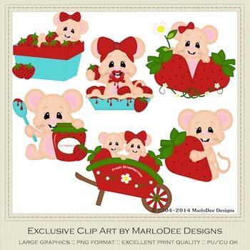 Berry Sweet Mice Clip Art Graphics