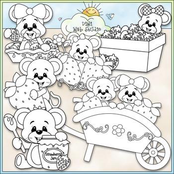 Berry Sweet Mice Clip Art - Mice With Strawberries Clip Art - CU Clip Art & B&W