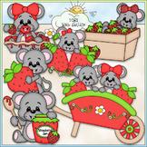 Berry Sweet Mice - CU Clip Art & B&W Set