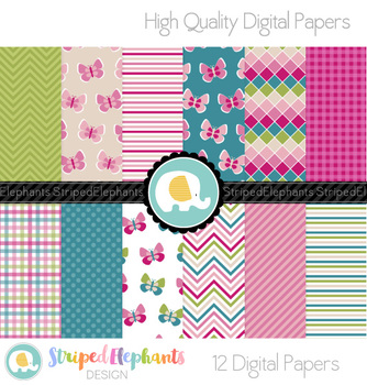 Berry and Teal Digital Papers