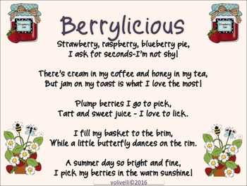 Berrylicious Poem and Activities