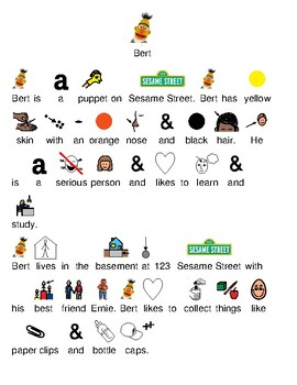 Bert - picture supported text lesson review article visuals - Sesame Street