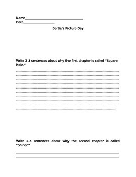 Bertie's Picture Day worksheet