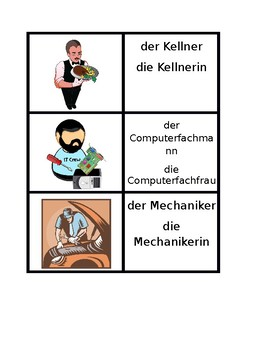 Berufe (Professions in German) Vocabulary Concentration games