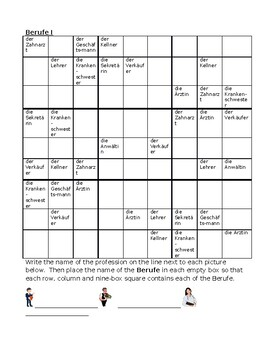 Berufe (Professions in German) Sudoku