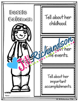 BESSIE COLEMAN  Writing - Great Black History Month Activity