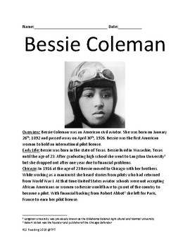 Bessie Coleman - African American woman pilot - lesson article questions facts