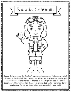 Bessie Coleman Biography Coloring Page Craft or Poster, African American