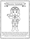 Bessie Coleman Biography Coloring Page Craft or Poster, Af
