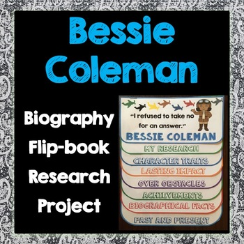 Bessie Coleman Biography Research Project, Flip Book, Famous Women