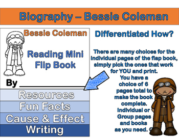 Bessie Coleman - Mini Biography Flip Book (Differentiated Reading and ELA)