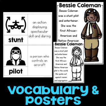 Bessie Coleman Reading Passage, Biography Report, & Comprehension Activities