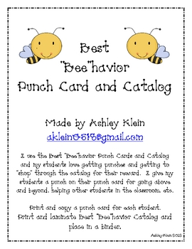 """Best """"Bee""""havior Punch Cards and Catalog"""