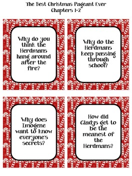 Best Christmas Pageant Ever Discussion Cards and Questions by MsEunsonReads
