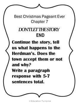 Best Christmas Pageant Ever Novel Study