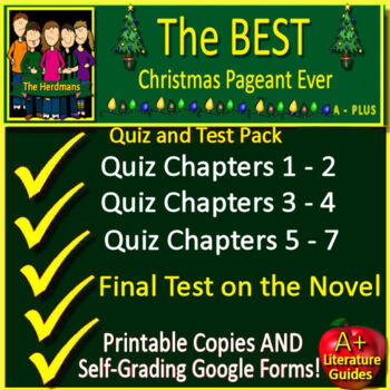 The Best Christmas Pageant Ever Quiz and Test Bundle Common Core Aligned