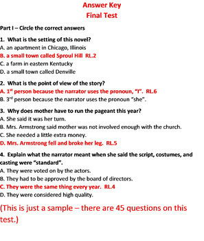 The Best Christmas Pageant Ever Test and Quiz Bundle Common Core Aligned