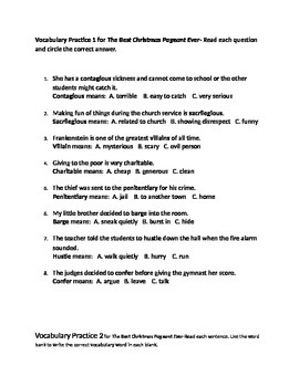 Best Christmas Pageant Ever Vocabulary Activity Bundle