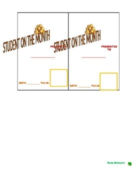 'Best Class of the Week' and Student of the Month Certificates