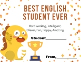 Best English/Student Ever Certificate for Online Teachers