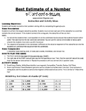 Best Estimate of a Number Elementary Game Puzzle and Worksheet