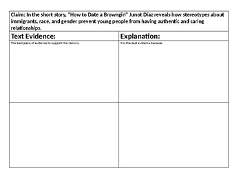 """Best Evidence Graphic Organizer for """"How to Date a Browngirl..."""" Short Story"""