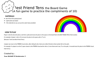 Best Friend Tens Board Game (Compliments of 10, Make a 10)