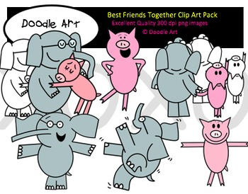 Best Friends Together Clipart Pack