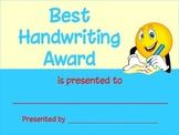 Best Handwriting Award