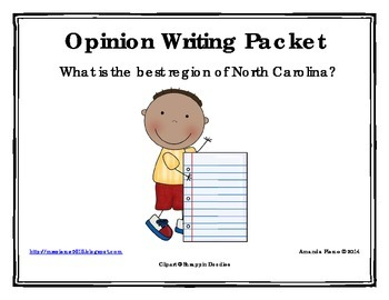 Best Region of North Carolina Opinion / Tell Why / Argumentative Writing Packet