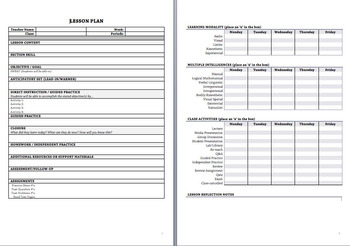 Best Lesson Plan Template Pdf Fillable Ms Word By Teacher Snacks
