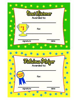 Best Listener Award & Fabulous Helper Award Colorful Printable