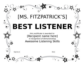 Best Listener Certificate