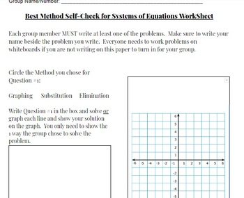Best Method Systems of Equations Self-Check Activity Recording Sheet