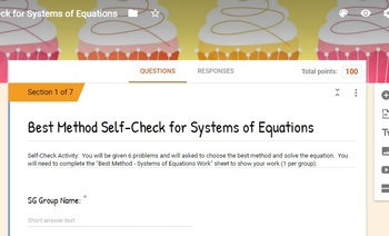 Best Method Systems of Equations Self-Check GOOGLE FORM Activity