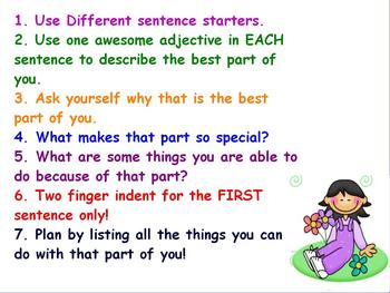 """""""Best Part of Me"""" writing activity"""