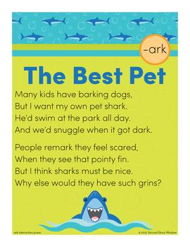Best Pet -ark Word Family Poem of the Week - R-Controlled Vowel Fluency Poem