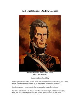 Best Quotations of Andrew Jackson