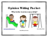 Best Recess Activity Opinion / Tell Why / Argumentative Writing Packet