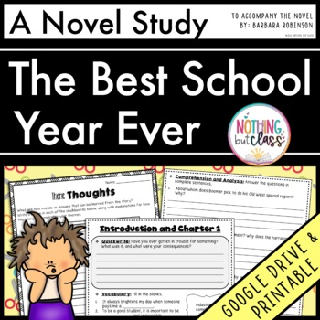 Best School Year Ever Novel Study Unit: comprehension, voc