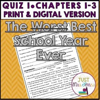 The Best School Year Ever Quiz 1 (Ch. 1-3)