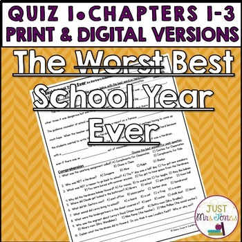 The Best School Year Ever Quiz 1 (Ch. 1-3)