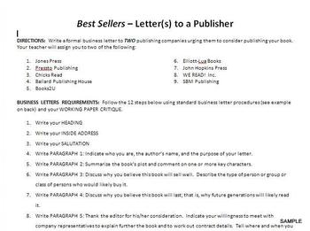 Best Sellers! Letter to the Publisher