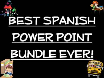 Best Spanish Power Point Bundle Ever!/Familia, Escuela, Tiempo, Meses, Numeros